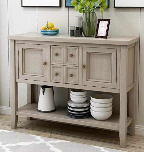 Console Table Sideboard Buffet Storage Cabinet Home Furniture for Entryway Hallway with Bottle Shelf (Antique Grey)