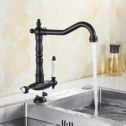 SURFMALL Retro Küchenarmatur Wasserhahn Bad mit 2 Griffe aus Messing Spültischarmatur 360° Schwenkbar Schwarz