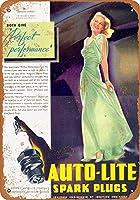 ブリキ看板1937オートライトスパークプラグコレクタブルウォールアート
