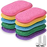 Microfiber Kitchen Scouring Pads Double Sided Scrubbing Sponges Scourer Non Odor Dish Scrubber Brush, Great for Non Stick Pans Pots Cookware,10pc with Hooks