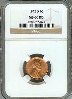 1942-D Lincoln Wheat 1c Cents Coin NGC Certified MS66 RED