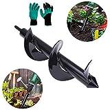 Gartenschlangen-Spiralbohrer für Pflanzenset, Gartenbohrer, Bagger, Pflanzenwerkzeug, Sechskantbohrer, mit einem Paar Gartenhandschuhen