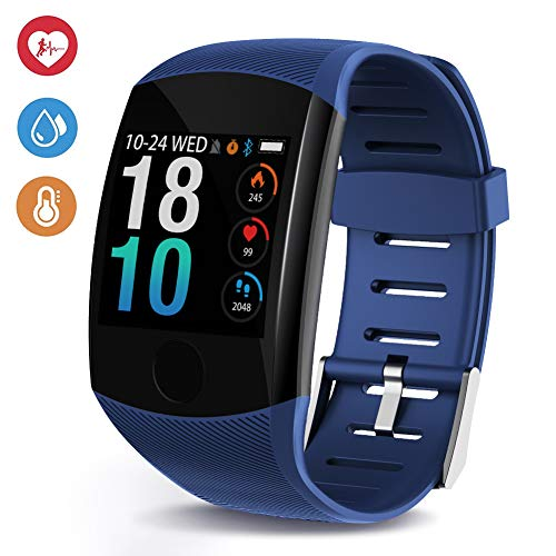 Deyawe Fitness Tracker,2019 Upgraded IP67 Activity Tracker Watch with Heart Rate Monitor Step Counter Calorie Counter Pedometer for Men Women Kids (Blue)