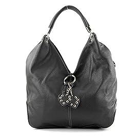 modamoda de – shopper sac à main en cuir italien sac à bandoulière 330, Couleur:noir