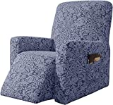 Subrtex - Funda de sillón relajante extensible Jacquard Damasco, 1 plaza, sillón relax, protector decorativo (gris azul)
