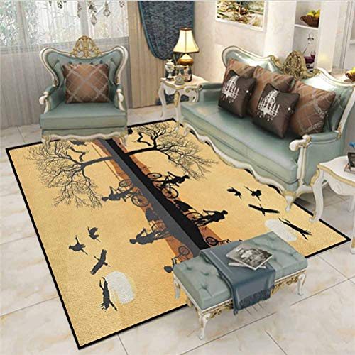 Mountain Bathroom Rug Rugs for Living Room Silhouette of Strokes and a Family with Bicycles Near a Lakeside Indoor Outdoor Carpeting Earth Yellow Black Brown 6.5 x 9.8 Ft