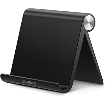 UGREEN Tablet Stand Holder Adjustable Compatible for iPad 10.2 2019, iPad Pro 11 Inch 2020, iPad 9.7 2018, iPad Mini 5 4 3 2, iPad Air, Nintendo Switch, iPhone 12 Pro Max 11 XS XR X 8 Plus 7 6 (Black)