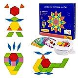 Diealles Shine Tangram Madera, 155Pcs Rompecabezas de Madera para Niños, Puzzles de Madera de Formas Geométricas con 24Pcs Tarjetas de Diseño
