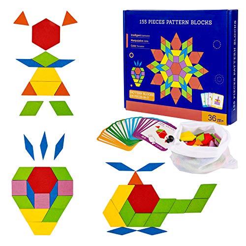 Diealles Shine 155 Stücke Holzpuzzles Geometrische Formen Puzzle, Holzmuster Blöcke Montessori Lernspielzeug mit 24 Design Karten für Kinder