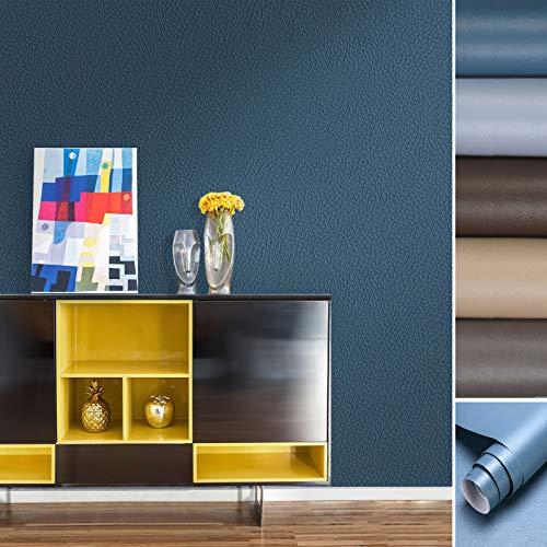 KINLO Klebefolie Türaufkleber 0.6 * 5M (8 Typen - 21 Farben) Dunkelblau Küchefolie Möbelfolie aus PVC Aufkleber für Schrank Tapeten wasserfest selbstklebendefolie Küchenschrank Dekofolie