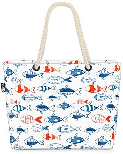 VOID Espèces de Poissons Bleu Rouge Sac de Plage XXL 58x38x16cm 23L provisions Voyage bandoulière Beach Bag Shopper