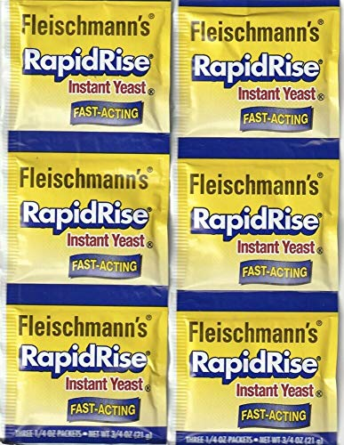 2 Strips Fleischmann's RAPID RISE INSTANT YEAST (6 Packs Of 1/4 Oz) For Bread
