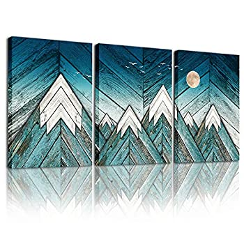 blue Abstract Canvas art Prints Wall Art Paintings for Living Room family kitchen Bedroom bathroom Wall decor modern Wall Artworks mountain Pictures Vintage wood grain 3 Piece Home Decoration posters
