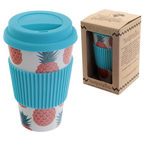 Puckator bambootique Tasse Isotherme avec Bouchon Ananas, Bambou, Beige