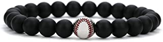 Linsoir Beads Trendy Baseball Bracelet Lava Stone/White Howlite/Matte Black Stone Beaded Bracelet Sports Jewelry for Boy G...