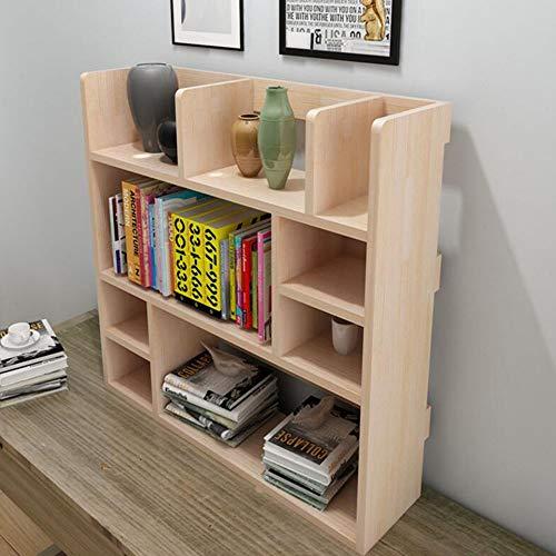 Jcnfa-Shelves Desktop Shelf Solid Wood Bookcase DVD Blu-ray Media Storage File Manager Student Computer Desk Shelf, 4 Sizes (Color : Wood Color, Size : 31.497.8731.49in)