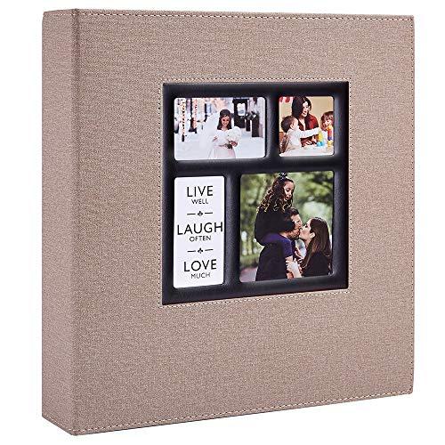 Benjia Album Photo 600 Pochettes 10x15cm Photos Grand Format Famille Mariage Classique Couverture Lin (60 Feuilles, 120 Pages, Kaki)