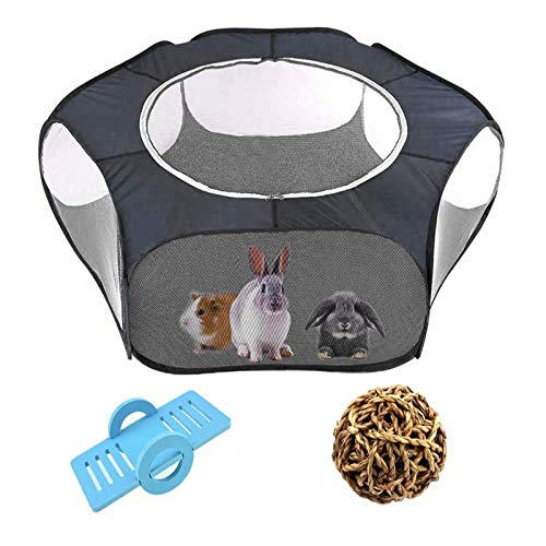 Tfwadmx Hamster Playpen with Cover, Large - Foldable Exercise Playpen, Breathable and Transparent Pet Cage Fence Indoor/Outdoor for Guinea Pigs Hedgehogs Gerbils Dwarf Rabbits Bunny Chinchillas Rats