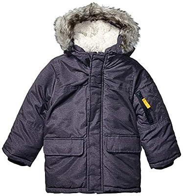 Osh Kosh Boys' Little Heavyweight Winter Jacket with Hood Trim, Dark Grey Heather, 5/6