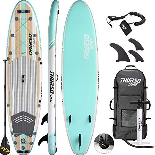 THURSO SURF Waterwalker All Around Inflatable Stand Up Paddle Board SUP 10'6 x 31'' x 6'' Two Layer Deluxe Package Includes Carbon Shaft Paddle/2+1 Quick Lock Fins/Leash/Pump/Roller Backpack