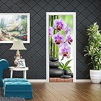 ドアステッカー壁紙 胡蝶蘭花粘着ドア壁紙Pvcホームポスター壁画