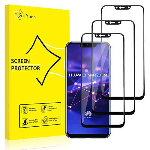 GiiYoon-3 Piezas Protector de Pantalla para Huawei Mate 20 Lite Cristal Templado,[Sin Burbujas] [Cobertura Completa] [9H Dureza] Vidrio Templado HD Protector Pantalla para Huawei Mate 20 Lite