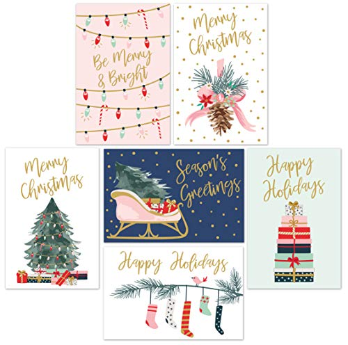 "Christmas Cards Set - 24 Gold Foil Holiday Cards with Red Envelopes – 6 Assorted Designs featuring Traditional Yuletide Images! Bulk Greeting and New Years Cards - 4.25""x5.75"""