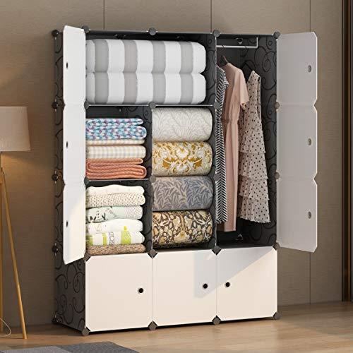 "KOUSI Portable Wardrobe Closets 14""x18"" Depth Cube Storage, Bedroom Armoire, Storage Organizer with Doors, 12 Cubes, Black"