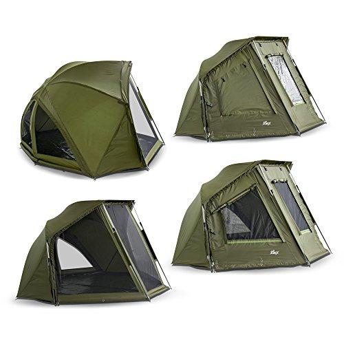 Lucx® Brolly Wiesel/Angelzelt 1-2 Mann Schirmzelt/Shelter/Karpfenzelt/Schrim/Zelt, 240x275x150cm, 10.000mm Wassersäule/Bivvy/Campingzelt