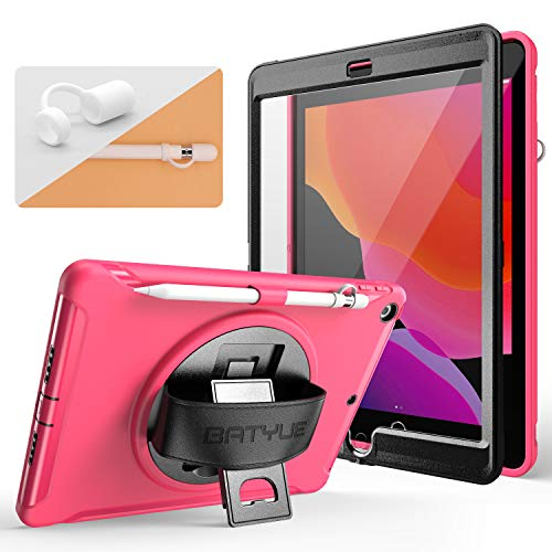BATYUE iPad 7th Generation Case 10.2'' with [Built-in Screen Protector][Pencil Holder&Pencil Cap Holder][360° Swivel Stand][Hand Strap] Heavy Duty Full Body Rugged Case for iPad 10.2 2019 (Rose red)