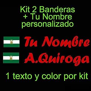 Vinilin - Pegatina Vinilo Bandera Andalucia + tu Nombre - Bici, Casco, Pala De Padel, Monopatin, Coche, etc. Kit de Dos Vinilos