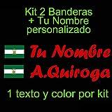Vinilin - Pegatina Vinilo Bandera Andalucia + tu Nombre - Bici, Casco, Pala De Padel, Monopatin, Coche, etc. Kit de Dos Vinilos (Rojo)