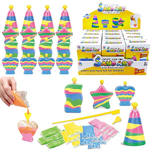 12 Pack Create Your Own Colored Sand Art Kits - Includes 12 Bottles, Funnels, Sticks, 48 Bags of Sand - Ideal for Kids Arts and Crafts, Schools, Birthday Party Favors Bulk (1 Dozen in Box)