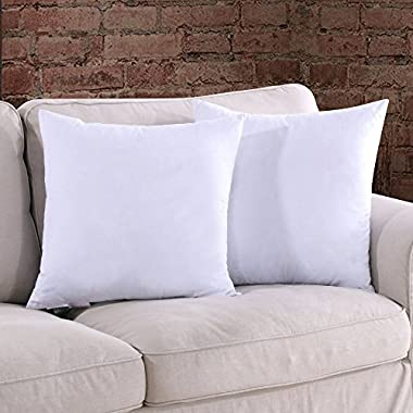 Homelike Moment Down Feather Throw Pillow Insert 18X18 Couch Square Pillow Insert Set of 2 100% Cotton Fabric