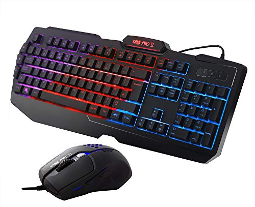 Sumvision Kane Pro 2 Multimedia LED Backlit Gaming Keyboard & Mouse Combo, Dust and Spill Proof, Plug & Play, UK Design and Layout with Technical Support
