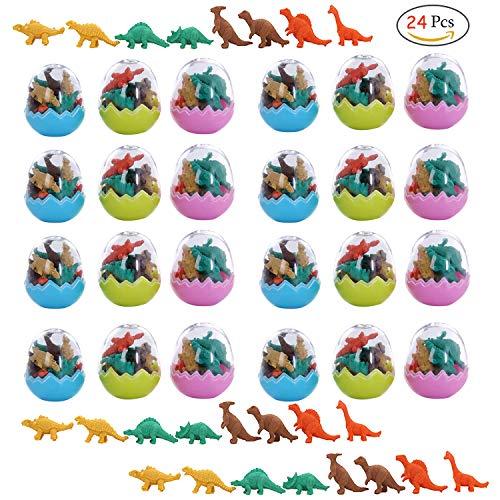 Clerfy Acc 24 Huevos Dinosaurio con Poca Goma Juguete Dinosaurio Mini borrar Borrador lápiz Juguete para niños Fiesta a los niños Fiesta cumpleaños Rellenos Bolsas Regalo cumpleaños para niños