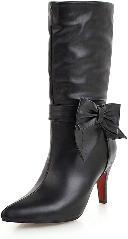 NOMIMAS Women's Mid-Calf Boots Fashion Bowtie Warm Nice shoes Soft Comfortable Distinctive Thin High Heels