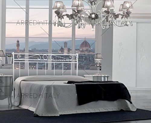 Cama de Matrimonio de Hierro Color Blanco con Cama Completo de Red ortopédico y colchón Air Memory 160x 190cm.–Producto Made IN Italy