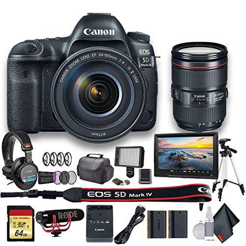 Canon EOS 5D Mark IV DSLR Camera with 24-105mm f/4L II Lens (1483C010) - Starter Bundle