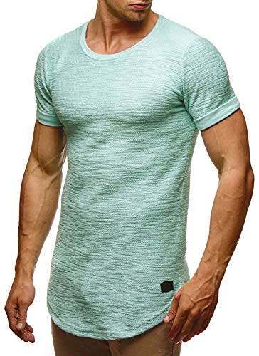 Leif Nelson Herren Sommer T-Shirt Rundhals-Ausschnitt Slim Fit Baumwolle-Anteil Moderner Männer T-Shirt Crew Neck Hoodie-Sweatshirt Kurzarm lang LN6324 Mint XL