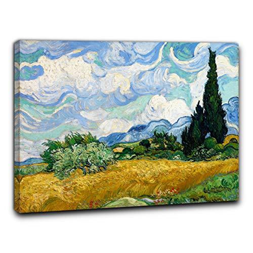 Niik Quadro + Telaio (BC) Campo di Grano con cipressi di Vincent Van Gogh 60 x 47 x 1,7 cm Falso d'autore Stampa su Tela
