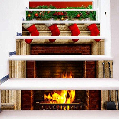 GPFDM Kreativ 3D Weihnachtssocken Kamin DIY Treppenhaus Aufkleber Umweltschutz Wasserdicht HD Wandgemälde Kunst PVC Wandtattoo, 1 Set 18 pcs, 100 * 18cm