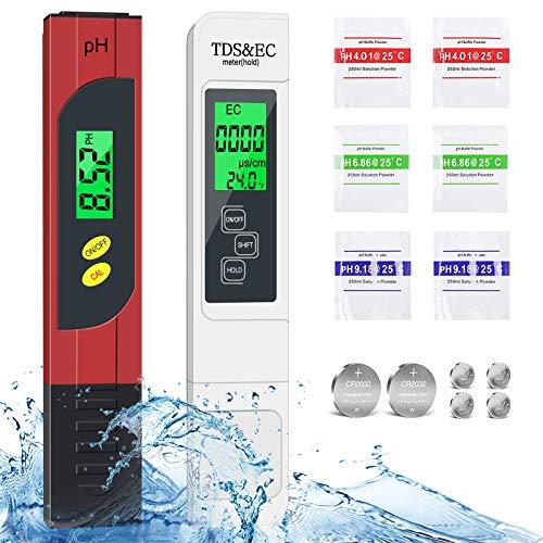 Digital pH Messgerät,Joycabin TDS EC Temperatur & pH 4 in 1 Set mit LCD-Display ATC Hoher Genauigkeit Wasserqualität Tester für Zum Messen von Trinkwasser etc anderen Flüssigkeiten