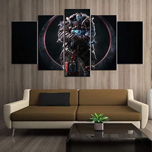 baixiangguo Juego De Quake Champions Cinco Cuadros Consecutivos Carteles Impresos Sala De Estar Decoración del Hogar Lienzo Modular Imágenes Arte De La Pared.-200 x 100 cm