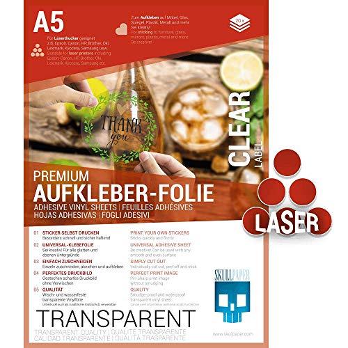 SKULLPAPER® Klebefolie transparent zum Aufkleben und selbst Gestalten - für Laserdrucker (A5-20 Blatt)