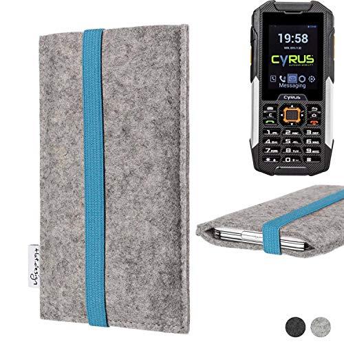 flat.design Handy Hülle Coimbra für Cyrus cm 16 - Schutz Case Tasche Filz Made in Germany hellgrau türkis