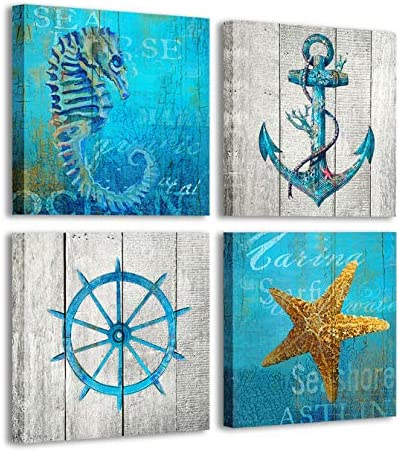 4 Panel Beach Coastal Wall Art Mural with Starfish Conch and Seahorse Printed on Vintage Wood product image