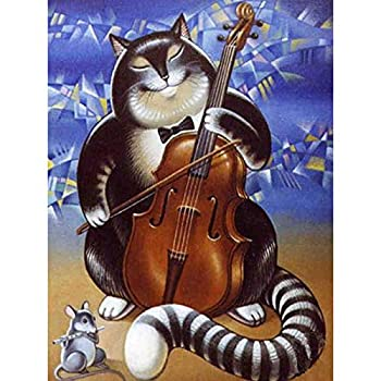 Diamond Painting DIY Crystal Full Cat Playing Cello Round Diamond 5D Diamond Cross Stitch Embroidered Mosaic Decorative 15.7×19.7Inches