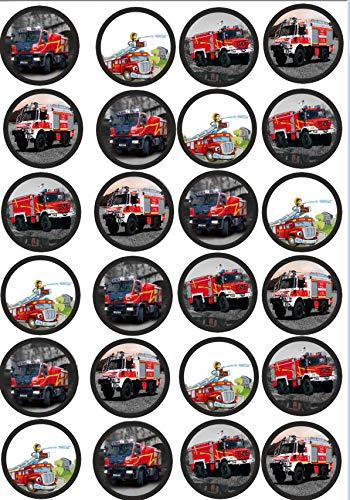 24 Muffin & Cupcake Aufleger Fondant Feuerwehr AMA 3