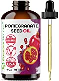 Organic Pomegranate Seed Face Oil. 100% Pure Unrefined Cold Pressed for Essential Oils. Rejuvenates Hair, Promotes Skin Elasticity. Gua Sha Oil. Antioxidant Moisturizer for Hair Skin and Nails 4 oz